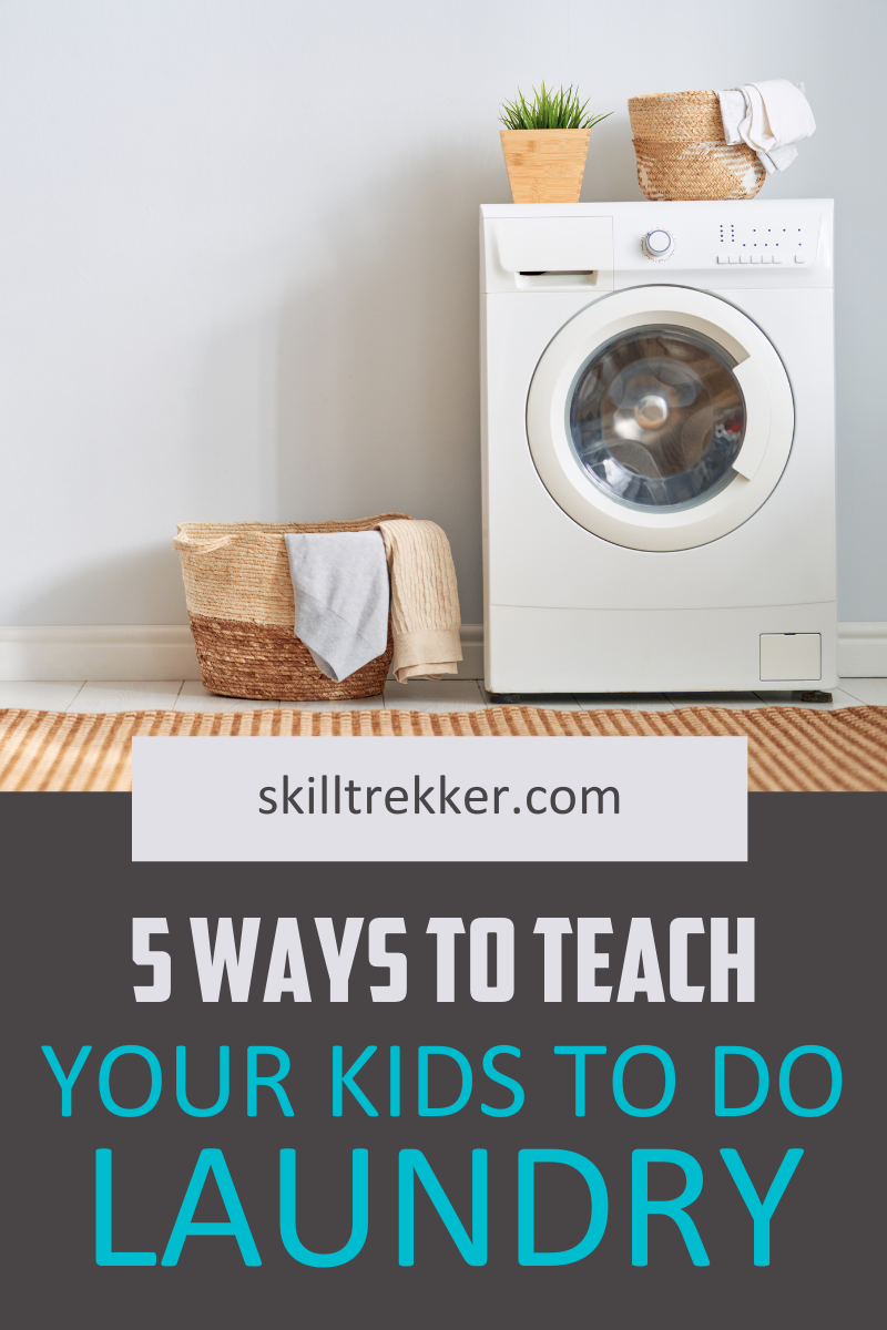 Laundry basket and washing machine to help teach kids how to do laundry.